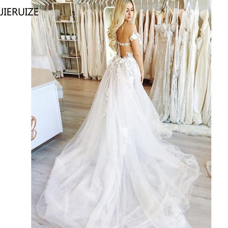 Image 2 - JIERUIZE White Lace Appliques Beach Wedding Dresses 2019 Sheer Back Off the Shoulder Boho Bride Dresses vestido de noiva-in Wedding Dresses from Weddings & Events