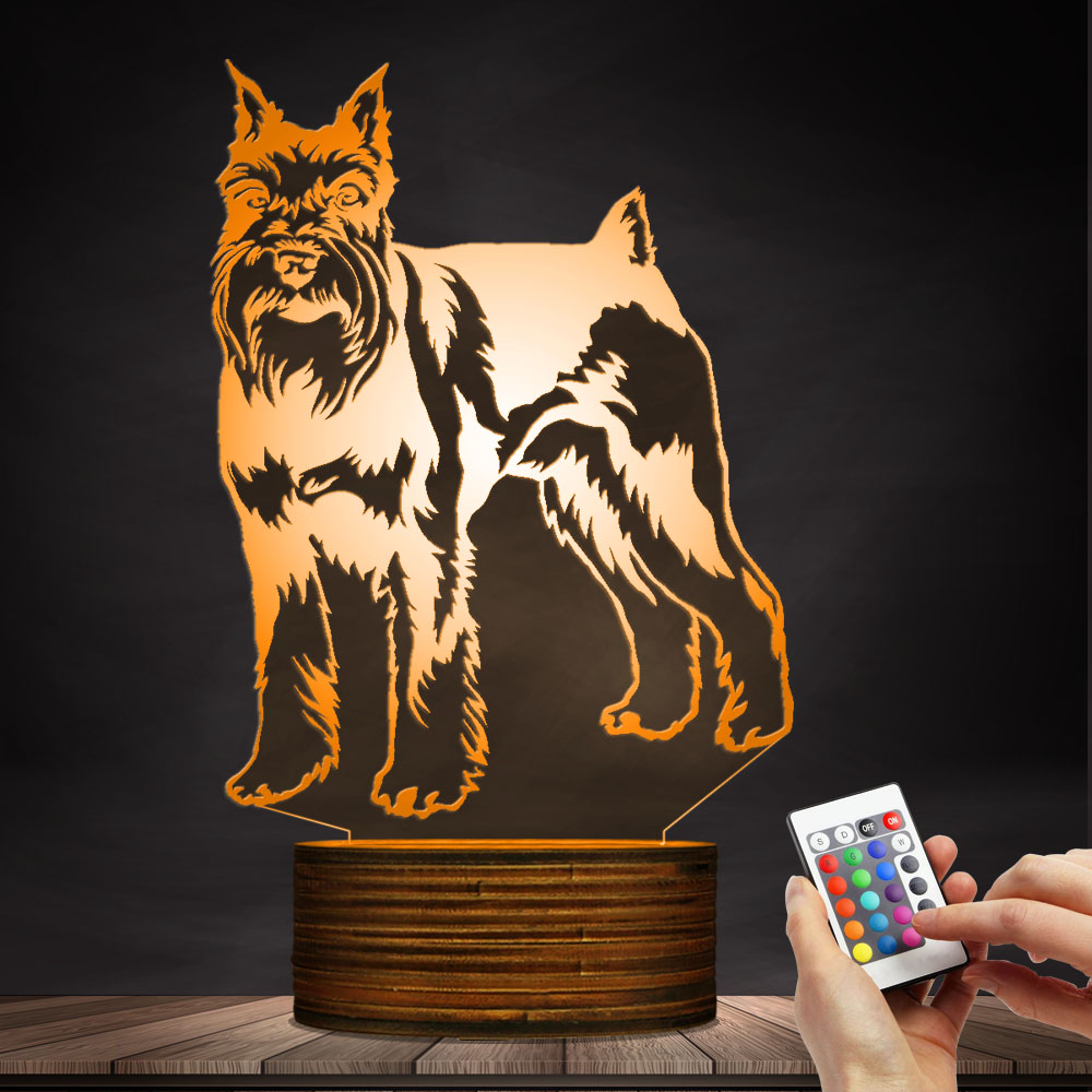 1Piece Miniature Schnauzer Standing Portrait Dog LED Night Light Table Lamp Animal Pet Puppy Kid Room Night Light Sleepy Lamp