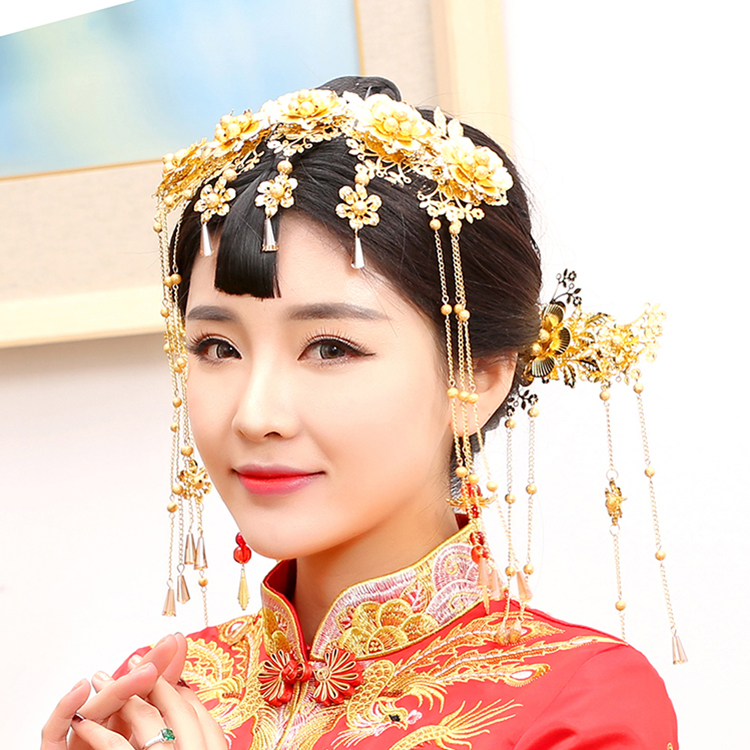 Han Guang Traditional Chinese Wedding Bride Hair Tiaras for Xiuhefu Hair Accessory Set for Costume 03 red gold bride wedding hair tiaras ancient chinese empress hat bride hair piece