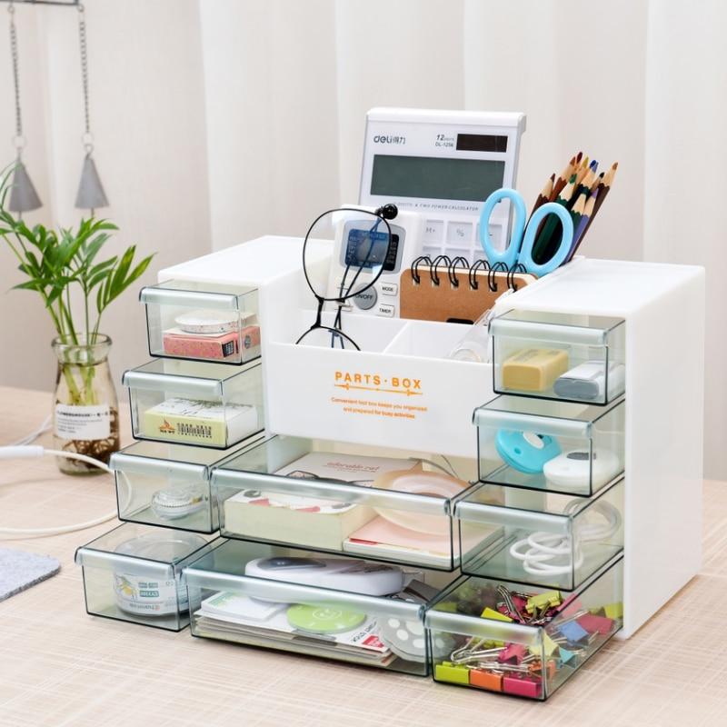 Organizer Storage Box Organizador Drawer Box Office Shelf Collection Cosmetics Finishing Jewelry Box Plastic Sundries Rectangle