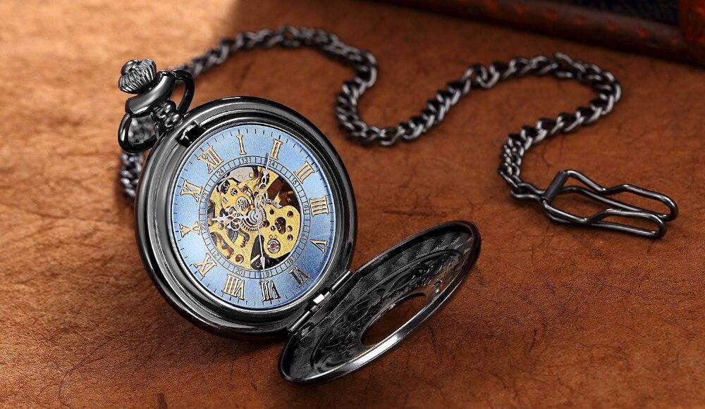 Steampunk Mechanical Pocket Watch Men Retro Pendant Watch Chain Vintage Necklace Mechanical Hand Wind Clock Pocket Watch Gifts 16