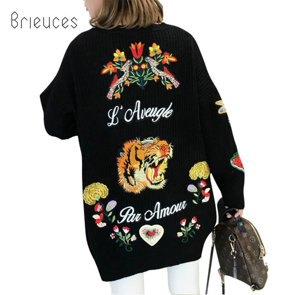 Brieuces new spring and autumn tiger head embroidery sweater cardigan jacket female long section black jacket women