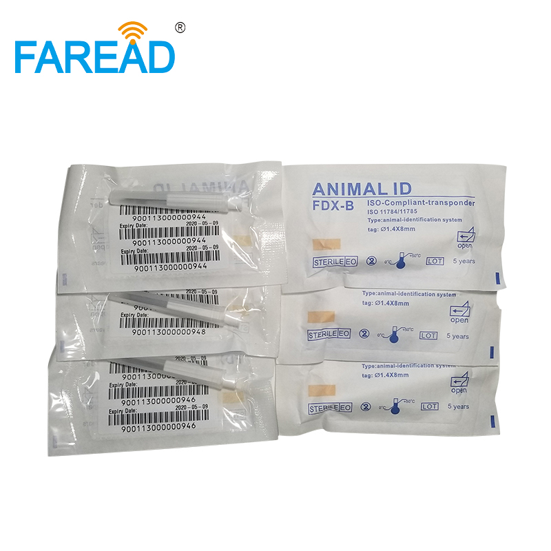 X100pcs RFID Replacement Needle With Glass Tube Microchip 1.4*8mm ISO11784/785 Animal Pet Dog Injector With Label