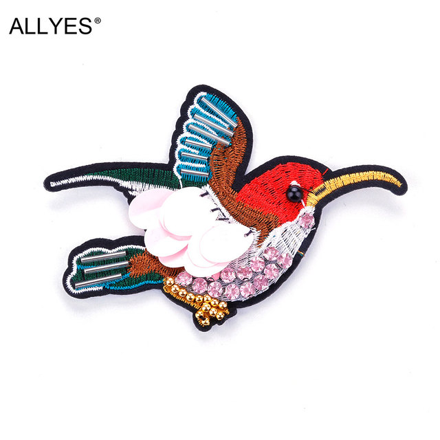 Allyes Винтаж большая птица Броши для Для женщин ювелирные изделия акриловые блесток Вышивка кристалл животных красивый костюм с лацканами Булавки брошь