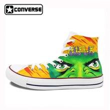 Мужские и женские Converse All Star обувь ручной росписью Халк холст кроссовки бренда Chuck Taylor дизайн Высокий Верх Скейтбординга