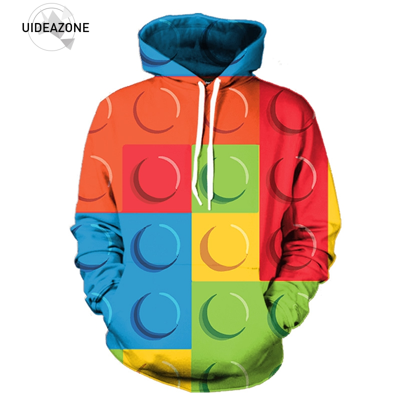 Men's Clothing Hearty Lego Bricks 3d Gameboy Hoodies Multicolor Geometry Hoodie Men Women Vibrant Hoody Sweatshirt Funny Print Pullovers Tops Clothes Various Styles