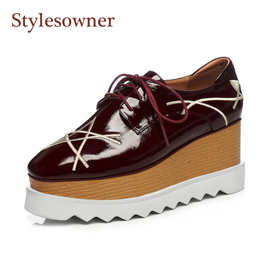 Stylesowner Patent leather women flat platform shoes 5 stars lace up black wine red 2018 new spring thick bottom casual shoe xjrhxjr new red black women patent