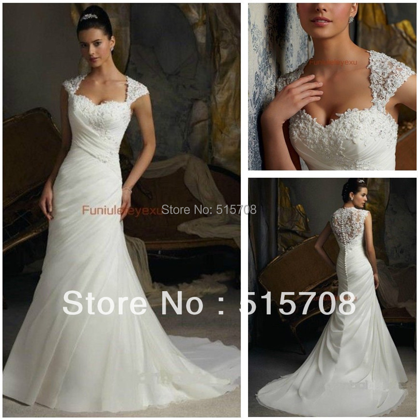 free shipping sexy new mermaid queen anne neck cap sleeve lace long famous designer white ivory bridal gown wedding dresses