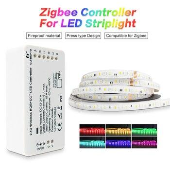 مجموعة شرائط LED ذكية من GLEDOPTO zibeezll link مجموعة أدوات التحكم في زيجبي rgbcct لـ dc24vRGB  CCT شريط مضاد للمياه تعمل مع alexa