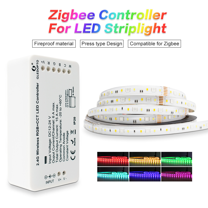 GLEDOPTO ZigbeeZLL Link Smart LED Strip Set Kit Rgbcct ZIGBEE Controller For Dc24vRGB+CCT Waterproof Strip Light Work With Alexa