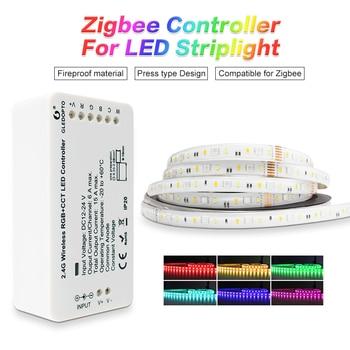 GLEDOPTO zigbeeZLL link smart LED Strip Set Kit rgbcct ZIGBEE controller for dc24vRGBCCT waterproof strip light work with alexa