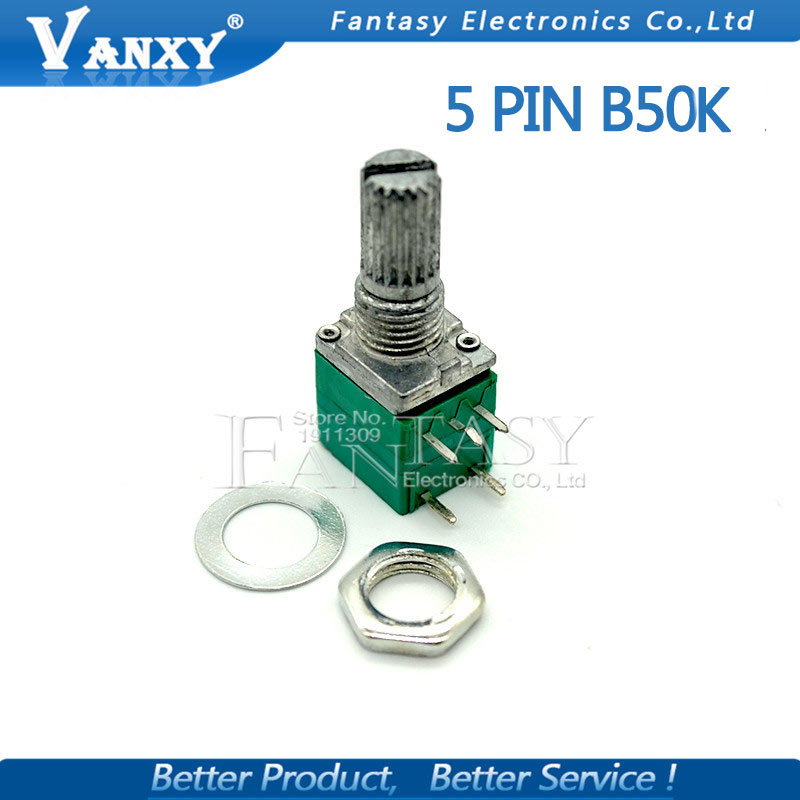 5pcs RV097NS 50K Single Linked Potentiometer B50K With A Switch Audio 5pin Shaft 15mm Power Amplifier Sealing Potentiometer