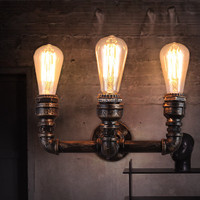 Loft Vintage Industrial Hallway Balcony Creative Lighting American Iron Restaurant Bar Three Heads Water Pipe Wall Lamps