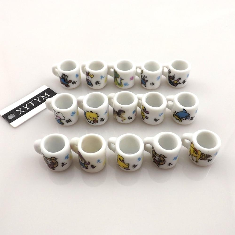 Wholesale 50pcs/Lot Cup Shape Ceramic Charms Free Shipping, Fashion Cartoon Animal Printed Ceramic Pendants, Porcelain Charms