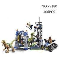 Jurassics Park 3 79180 406PCS dinosaur Tyrannosaurus transporter Building Blocks Bricks baby toys children gift education model