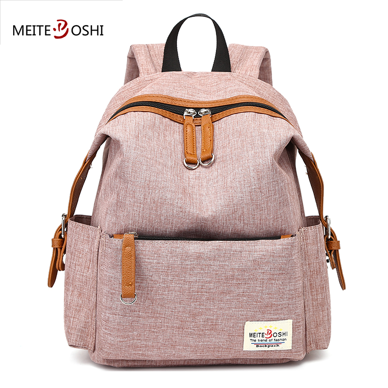 MEITEBOSHI Female Casual Brand Vintage Canvas Backpack | PU Patchwork Leisure Party Daypack Elegant Bag For Women Girls 2 Size
