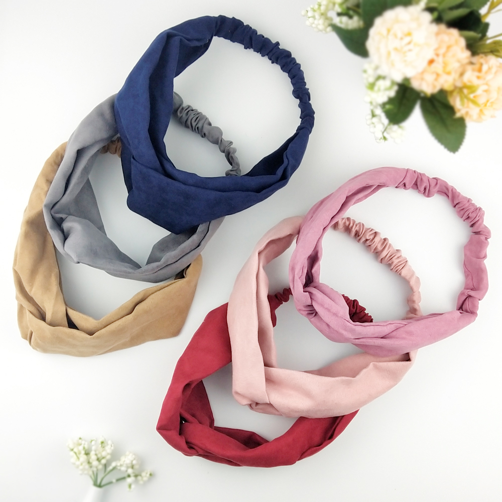 2019 Lady Hairband Solid Color Headband Turban Elastic Head Wrap Women Hair Accessories For Women Striped Hair Bands C08