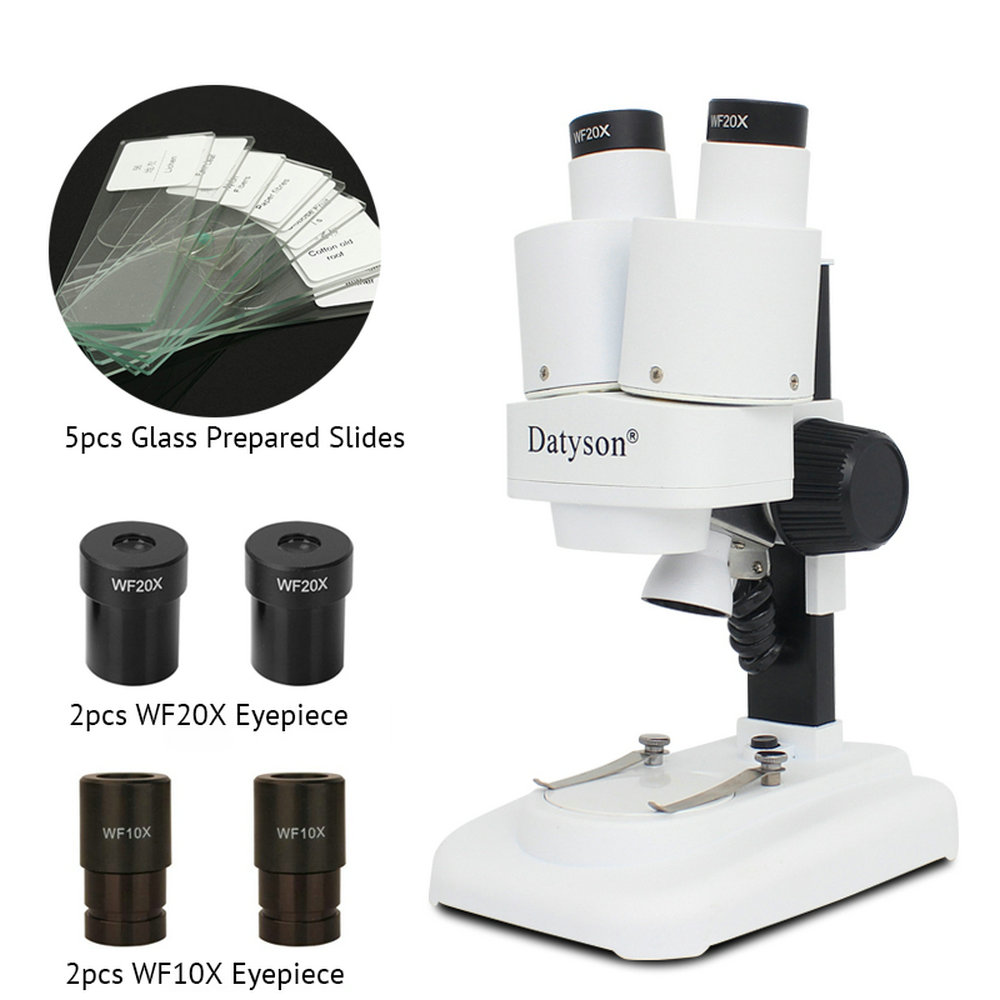 Datyson 20X 40X LED Binocular Stereo Microscope PCB Solder Tool Insect Plant Watch Students Science Educational Microscope Kids
