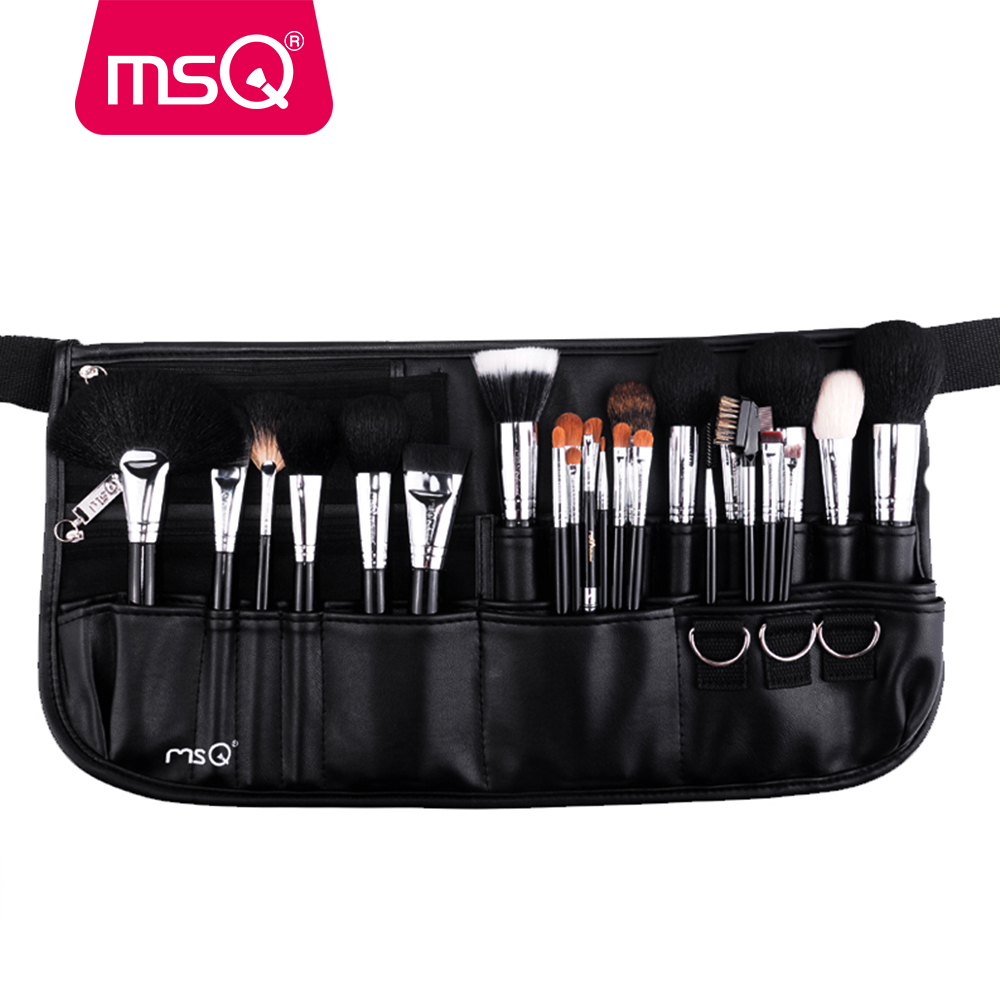 MSQ Brand 25pcs Makeup Brushes Set Soft Animal Hair Cosmetic Tool Pro Make Up Brushes Kit With High Quality PU Leather Case msq professional 15pcs makeup brushes set soft synthetic hair natural wood handle with pu leather case for beauty fashion tool