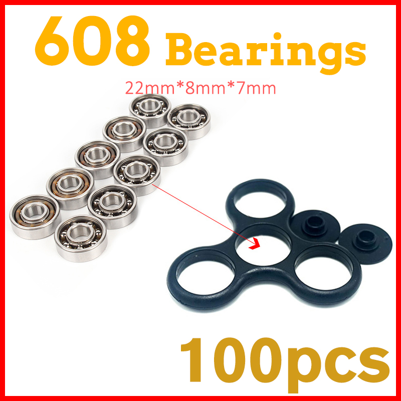 100Pcs 608 Bearing For led light batman stress Whee lEDC hand tri spinner fidget spinners lot tri-spinner toy  Autism and ADHD ynynoo edc hand spinner led tri spinner fidget toy plastic for autism and adhd rotation anti stress wheel toys stres spiner p832