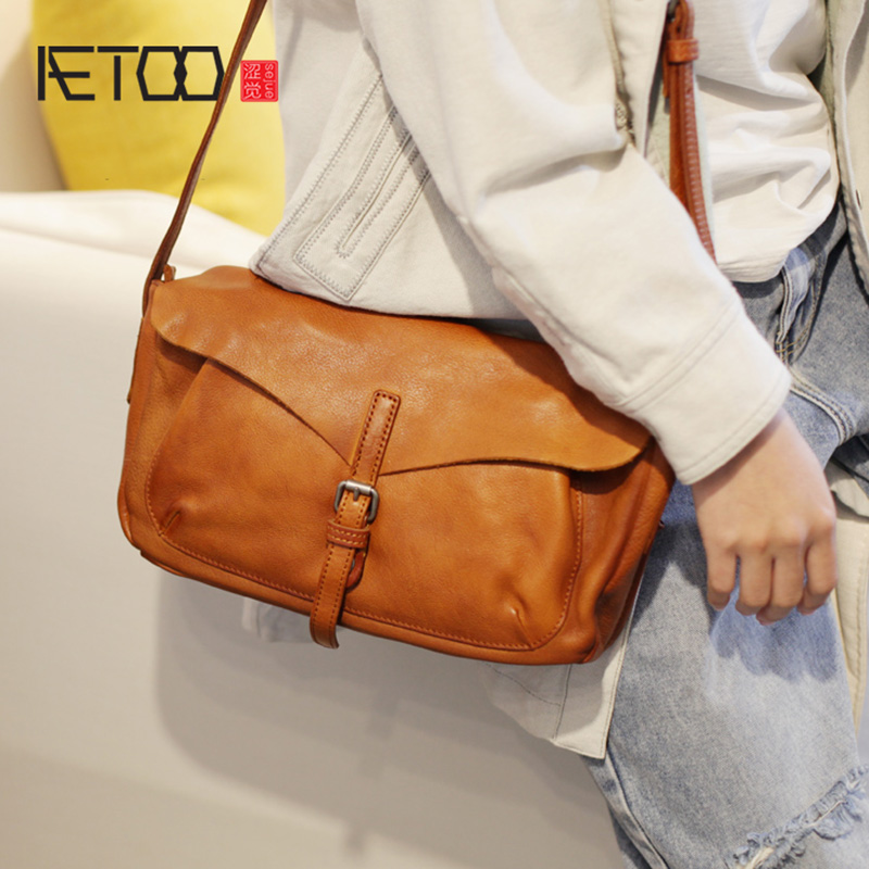 AETOO Retro College wind shoulder bag, hundred paired with large capacity leather womens bag, locomotive cowhide crossbody BagAETOO Retro College wind shoulder bag, hundred paired with large capacity leather womens bag, locomotive cowhide crossbody Bag