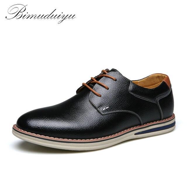 BIMUDUIYU ультра мягкие удобные кожаные туфли Для мужчин весна Новинка   модный стиль минималистский Дизайн платье 54884b99ec2