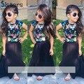 Лето Новорожденных Девочек Одежда футболка + dress 2 шт./компл. девушки одежда устанавливает цветочные моды черные Дети уличный Стиль съемки цветок