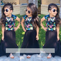 Summer Baby Girls Clothing T shirt + dress 2pcs/set Girl's clothes sets floral fashion black Kids Style street shooting flower