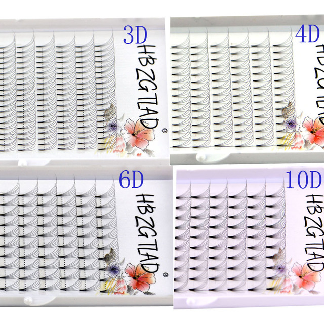 Mới 3D/4D/5D/6D/10D Nga Tập Lông Mi Nối Dài Thân Ngắn Trước Khiến Người Hâm Mộ C/D Cong Chồn Lash Eyelash Cá Nhân Phần Mở Rộng