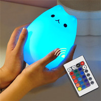 7 Color Changing Remote LED Night Light 2017 High Quality Cute Silicone Cat Creative USB Recharge