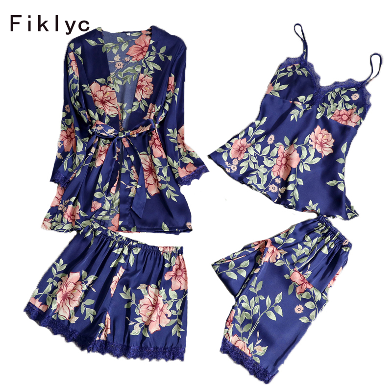 Fiklyc brand four pieces cute & sweet autumn pajamas sets floral print satin women's padded sexy nightwear lace nighties HOT