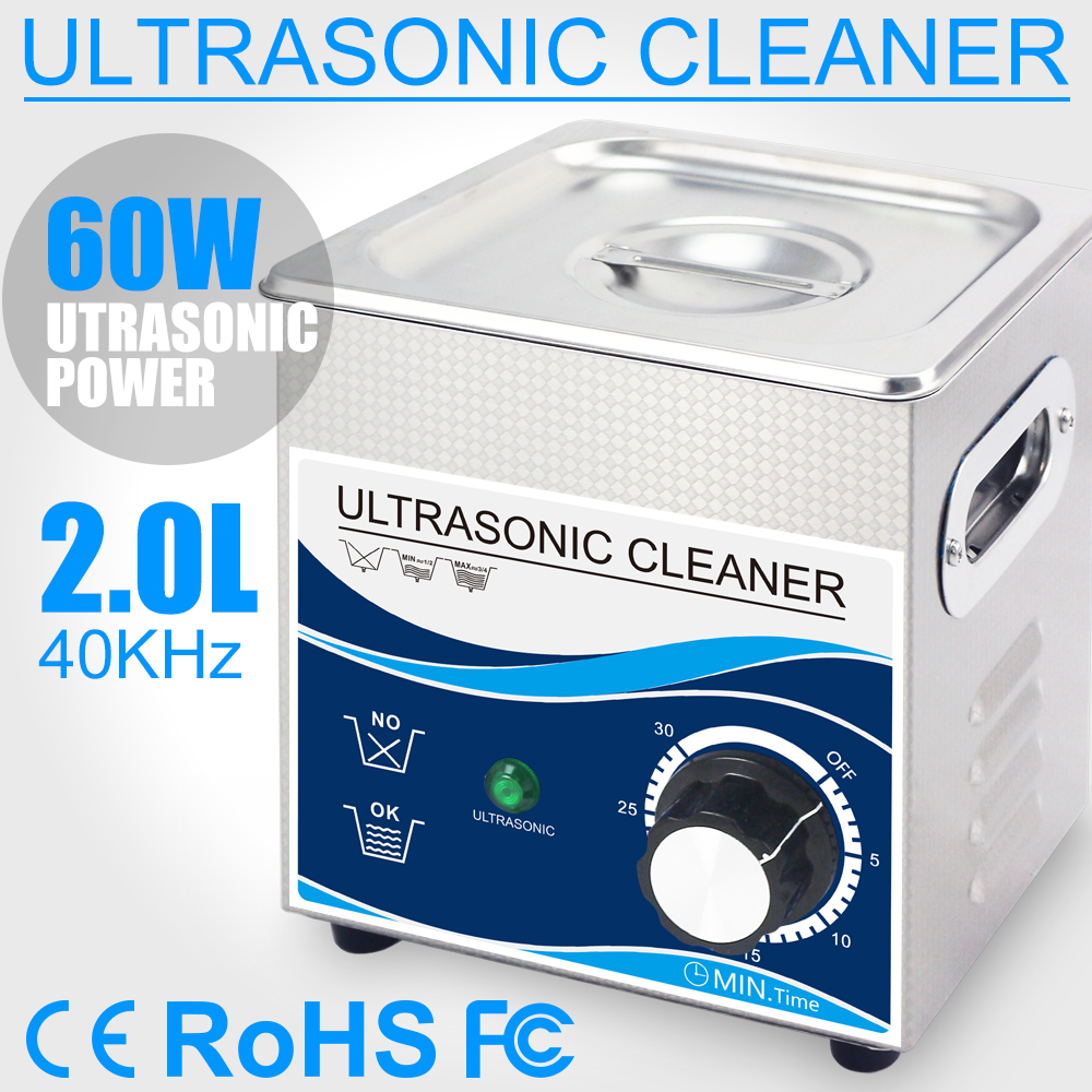 60W Ultrasonic Cleaner 2L Home Mechanical Btah Timer Cleaning Machine Ultrasound Sterilizer Fruits Lab Lens Dental Glasses