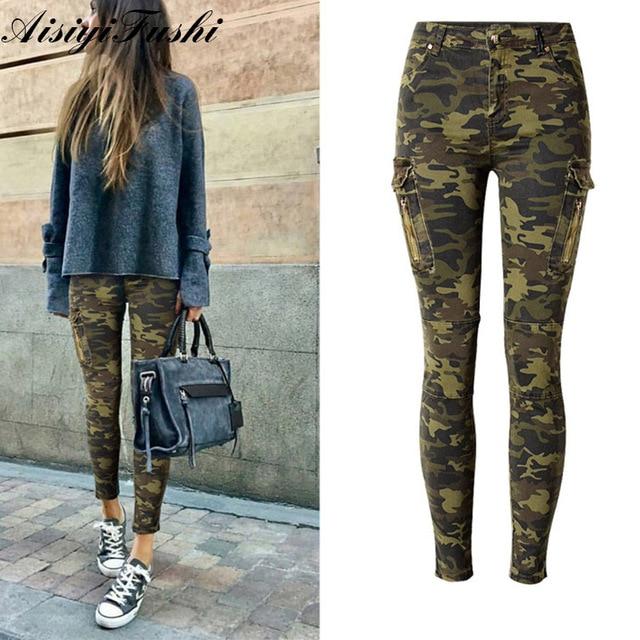 Army Camo Cargo Military Pants Women Skinny Camouflage Pants For Women Pencil Army Pants Ladies Sweatpants Women Plus Size