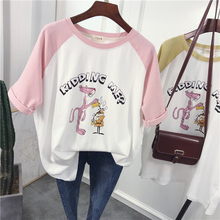 New arrival top quality Pink Panther Cartoon Print Women Tops Plus Size Harajuku Short Cotton Colorblo t shirt Summer in stock