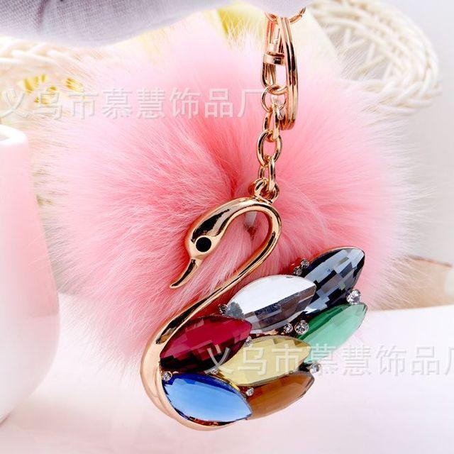 Pink keychain fur pom pom Faux Rabbit Hair Bulb Lady Bag For Car Ornaments Fox fur Ball Pendant Key Ring Swan
