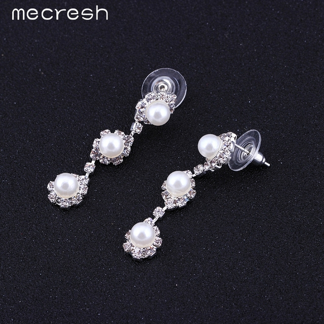 Simulated Pearl Bride Wedding Jewellery Set Necklace, Earrings & Bracelet