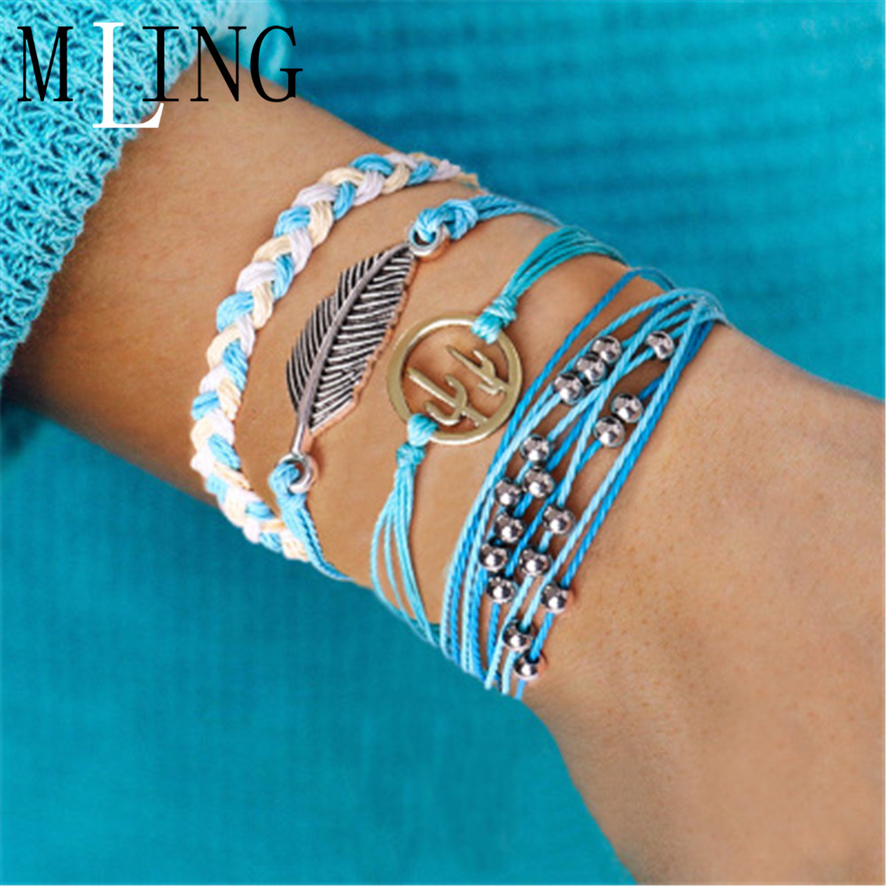 MLING 4 Pcs/Set Vintage Leaves Cactus Bracelet Set For Women Charm Weave Rope Chain Fashion Beads Jewelry
