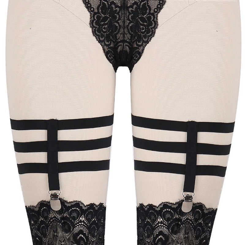 bf217d19b Womens Leg Harness Garters Set tight clip Black Bondage Thigh Stocking  Suspender Belt Punk Harajuku Goth