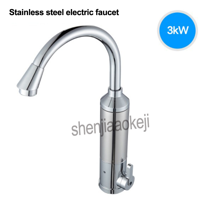 1PC Instant Hot Water Faucet electric fast faucet heater tankless heating type 220v 3000w kitchen cold dual-use stainless steel 220v 3000w household instant electric faucet heating fast water heater cold hot mixer taps for home kitchen bathroom