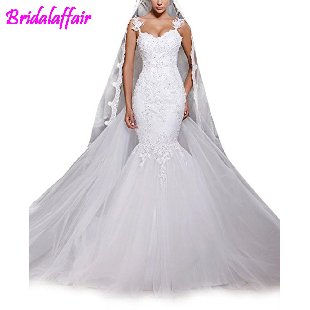 Women' Mermaid Lace Backless Spaghetti Wedding Dresses Big Size church Bridal Gowns robe de Mariage Tulle White Wedding Gown