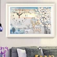 5D,DIY,Diamond Painting,Plum blossom,Antelope,clock,Full,Diamond Embroidery,Needlework,Rhinestones,Mosaic,Cross Stitch