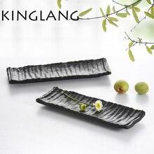 Tableware quality A5 scrub sushi plate 100% melamine plastic tableware cabob SASHIMI  saury salmon EGGPLANT long
