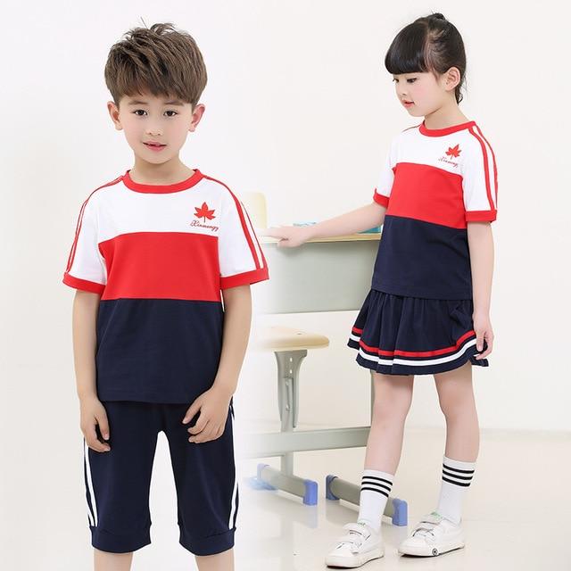 3cdf07526ee6 New 2017 Kindergarten Pupils School Wear Summer School Uniforms 2 Pieces of  Children s Sports Class Service