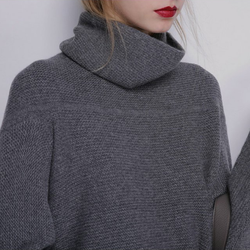 BELIARST New Autumn and Winter Cashmere Sweater Women's High Collar Thick Solid Color Sweater Loose Knit Sweater Wild Pullover 12