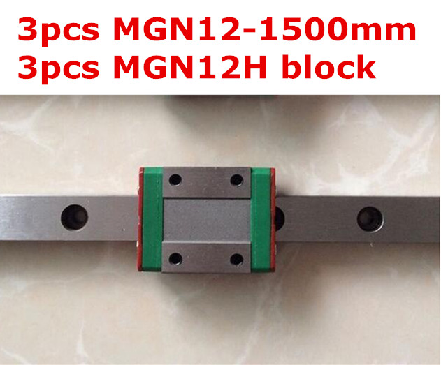 ФОТО Kossel Mini MGN12 12mm miniature linear rail : 3pcs MGN12mm - 1500mm rail + 3pcs MGN12H long type  carriage