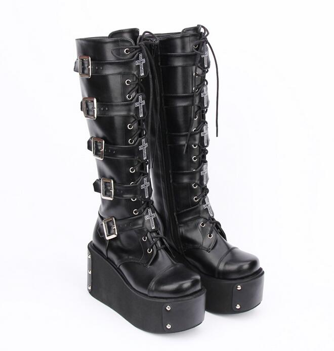 Angelic imprint mori girl Women motorcycle boots lady lolita Boots woman high heels pumps wedges platform shoes rhinestone 33 46-in Mid-Calf Boots from Shoes    3