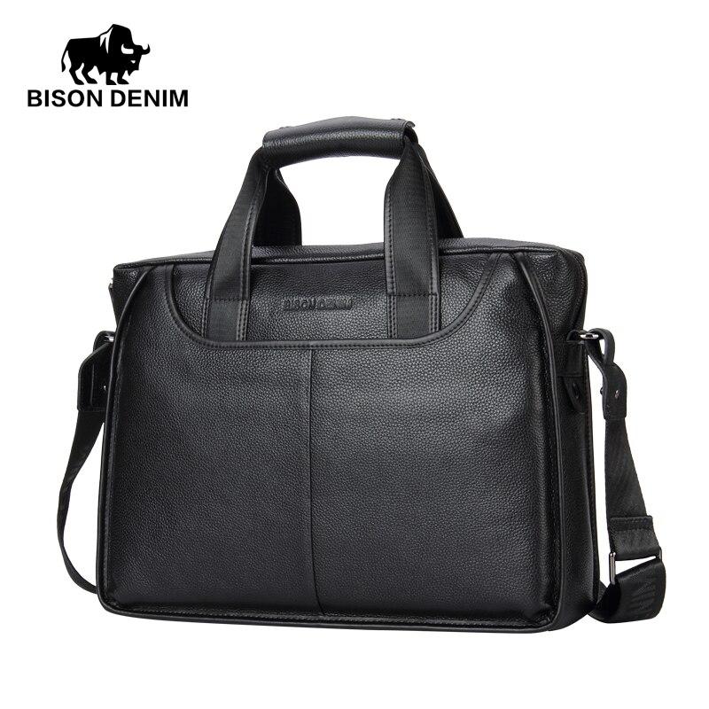 BISON DENIM Genuine Leather Briefcase Men Bag 14 inch Laptop Soft Cowhide Messenger Bag Handbag Bag,Men's Bags Business work
