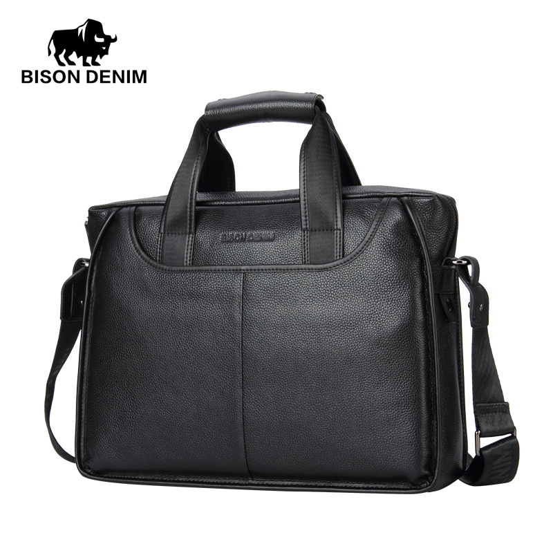 все цены на BISON DENIM Genuine Leather Guarantee Briefcase Men Bag 14 inch Laptop Soft Cowhide Messenger Bag Handbag Bag Business N2237-3