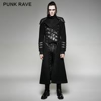 Панк Rave 2017 Новый дизайн военная форма длинное пальто Черный Прохладный Куртки мужчин плащ на Хэллоуин человека coaty 708