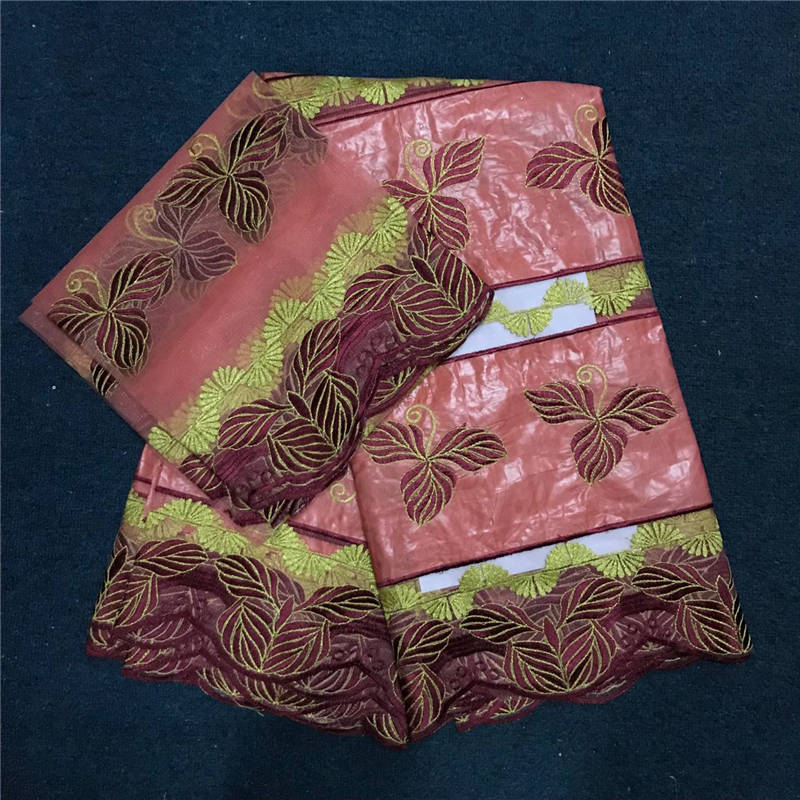 African Bazin Riche Getzner Peach Pink Lovely Brocade Fabric With Stones Ladies Bazin Brocade Fabric 5yards+2yards Blouse Match
